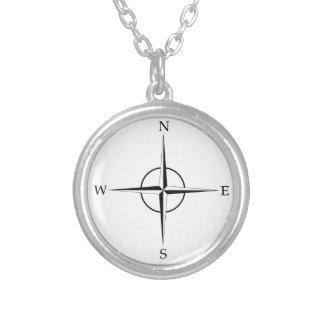 Kompass-Rose Halskette Mit Rundem Anhänger