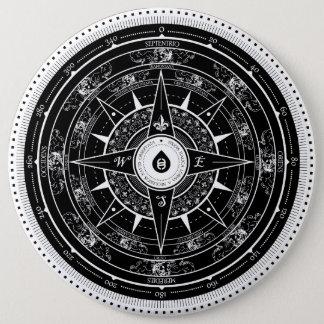 Kompass-Rose - Knopf (Schwarzes) Runder Button 15,3 Cm