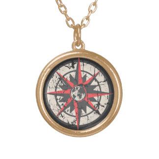 Kompass-Rose mit der Kugel, beunruhigt Halskette Mit Rundem Anhänger