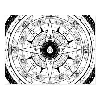 Kompass-Rose - Postkarte (weiß)
