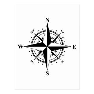 Kompass-Rose - Schwarzes u. Weiß Postkarte