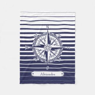 Kompass-Rosen-blaue Streifen Fleecedecke