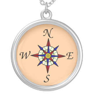 Kompass-Rosen-Halskette Halskette Mit Rundem Anhänger