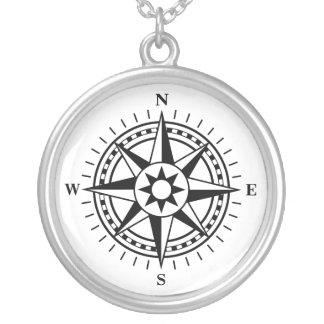 Kompass-Rosen-Silberhalskette Halskette Mit Rundem Anhänger