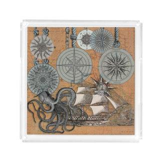 Kompass-Rosen-Vintage Seekunst-Druck-Grafik Acryl Tablett