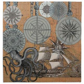 Kompass-Rosen-Vintage Seekunst-Druck-Grafik Stoffserviette
