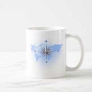 Kompass-Rosen-Weltkarten-Tassen Tasse
