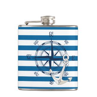 Kompass-und Anker-blaue und weiße Streifen-Flasche