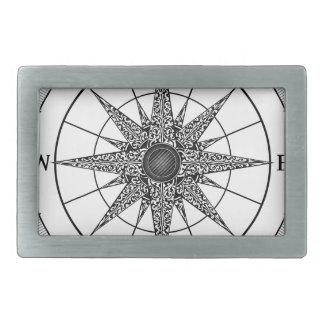 Kompass-Vintage Rose Rechteckige Gürtelschnalle