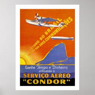 Kondor ~ Brazillian Fluglinienverkehr Plakatdrucke