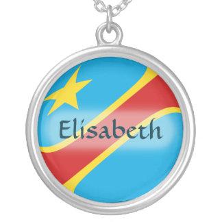Kongo-Kinshasa Flagge + Namenshalskette Schmuck