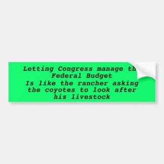 Kongress-Budget, Kojote-Viehbestand-Autoaufkleber Autoaufkleber