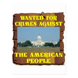 Kongreß; Gewollt für Verbrechen gegen Amerika Postkarte