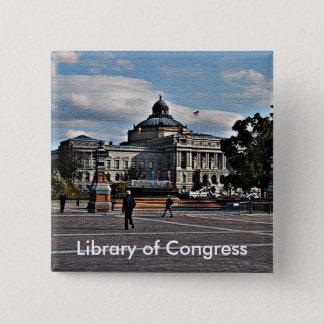 Kongressbibliothek im Mosaik-Muster Quadratischer Button 5,1 Cm