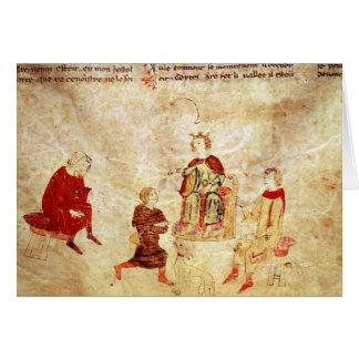 König Arthur auf seinem Thron umgeben Karte