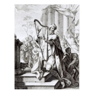 König David Playing der Lyre Postkarte