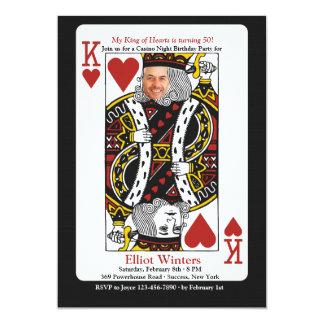 König der Herz-Kasino-NachtFoto-Einladung 12,7 X 17,8 Cm Einladungskarte