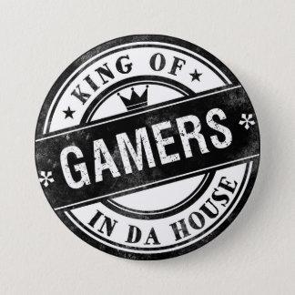 König des Gamers-lustigen Knopfes für Nerds und Runder Button 7,6 Cm