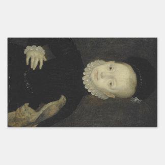 König James VI mit Spatzen-Falken - 1574 Rechteckiger Aufkleber