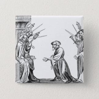 König Karl der Große (742-814) den Eid von F Quadratischer Button 5,1 Cm