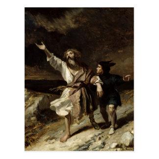 König Lear und der Dummkopf im Sturm Postkarte