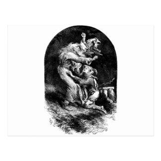 König Lear und Dummkopf in einem Sturm Postkarte