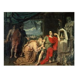 König Priam, das Achilleus um Rückkehr von bittet Postkarte