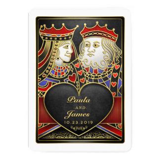 König-u. Königin-Schwarzes, Rot u. Gold Vegas Karte