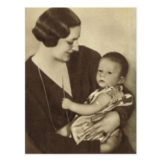 Königin Astrid von Belgien mit Prinzen Albert Postkarte