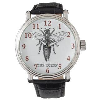 Königin-Bienen-Illustration Vintag Armbanduhr