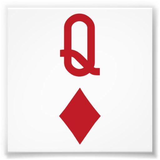 Königin der Diamant-roten Spielkarte Kunstfotos