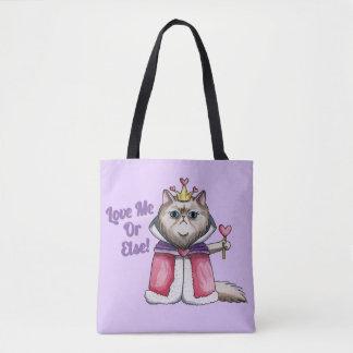 Königin der Herz-persische Katzen-Illustration Tasche