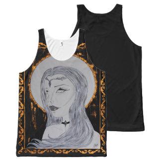 Königin des Goldes - mit Tinte geschwärzte Kunst Komplett Bedrucktes Tanktop