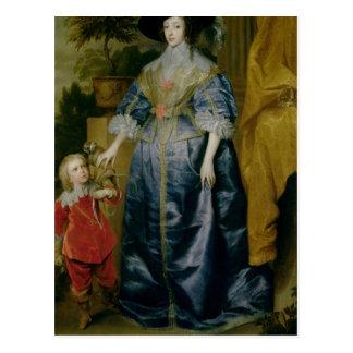 Königin Henrietta Maria und ihr Zwerg Postkarte
