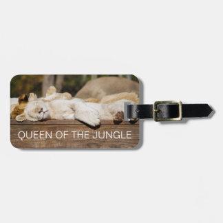 Königin-König der Dschungel-Löwen, die im Sun Gepäckanhänger