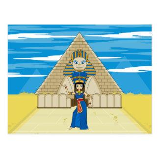 Königin Nefertiti, das an der großen Sphinxe tanzt Postkarte