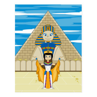 Königin Nefertiti u. die große Sphinx von Giseh Postkarte