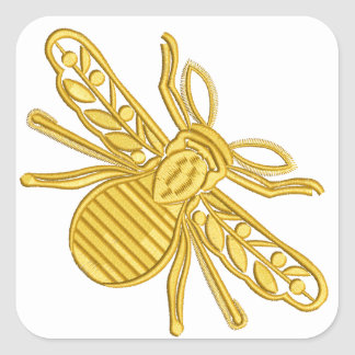 königliche Biene, Nachahmung der Stickerei Quadratischer Aufkleber