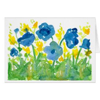 Königliche blaue Mohnblumenwatercolor-Blumen Karte