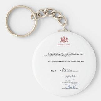 Königliche Geburts-Mitteilung Standard Runder Schlüsselanhänger
