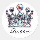 Königliche Kronen-Königinaufkleber Runder Aufkleber