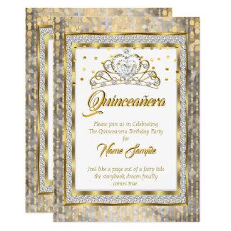 Königliche Prinzessin Quinceanera Gold White Karte