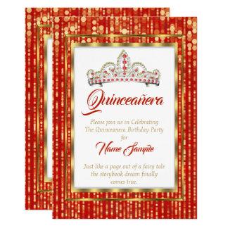 Königliche Prinzessin Red Quinceanera Gold White Karte