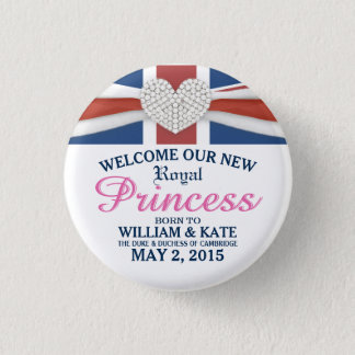 Königliche Prinzessin William u. Kate Runder Button 3,2 Cm