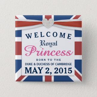 Königliche Prinzessin - willkommenes Baby Williams Quadratischer Button 5,1 Cm