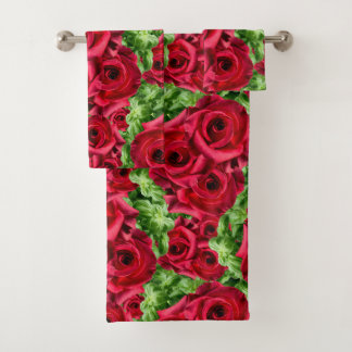 Königliche Rosen-königliche Romance hochrote Badhandtuch Set