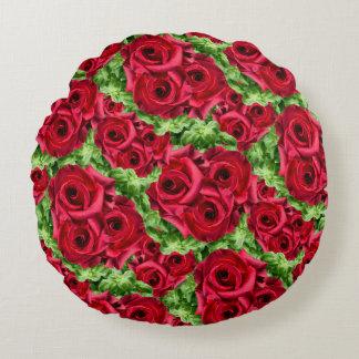 Königliche Rosen-königliche Romance hochrote Rundes Kissen