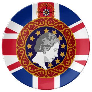 Königlicher Königin-Monogramm-Porzellan-Teller Porzellanteller