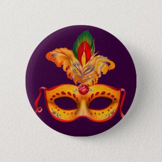 Königlicher lila Maskerademaskenkarneval Runder Button 5,7 Cm