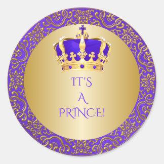 Königlicher Lila u. Goldkleiner Prinz Crown Runder Aufkleber